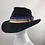Thumbnail: Black cashmere vintage style trilby with a rainbow trim
