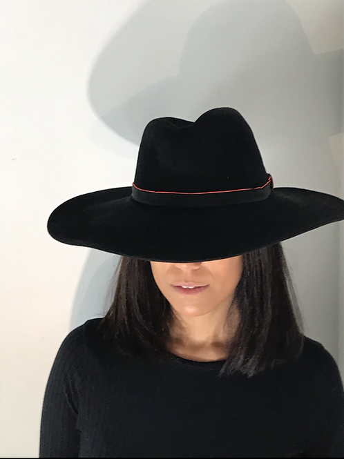 Black fedora with orange trim