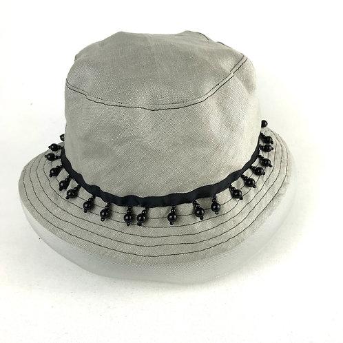 Grey beaded bucket hat with veil
