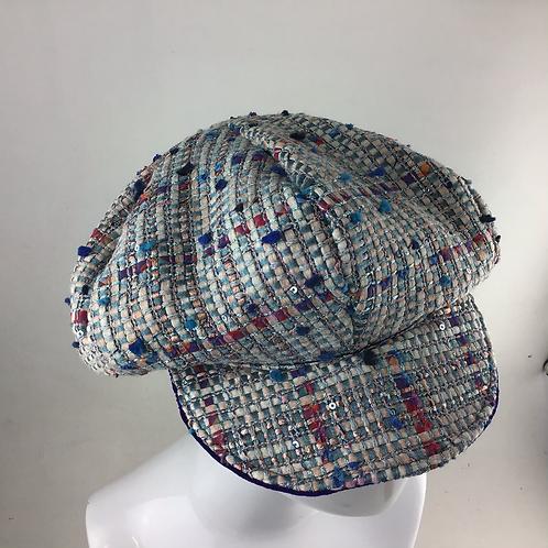 Blue Linton tweed baker boy cap