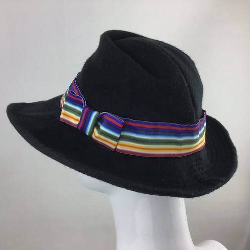 Black cashmere vintage style trilby with a rainbow trim