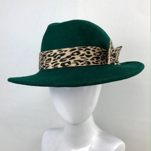 Green trilby with leopard bow