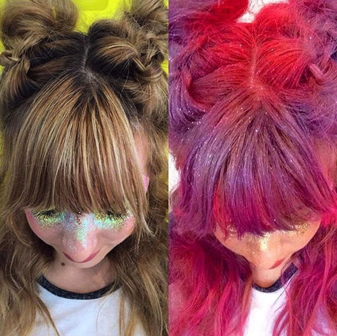 Happy hump day! I had to do a side by side shot to show you how amazing the _stargazerproducts neon hair sprays are.jpg
