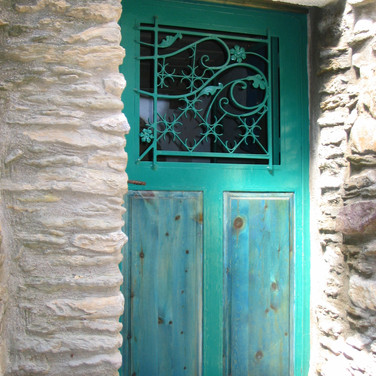 door with wooden panels