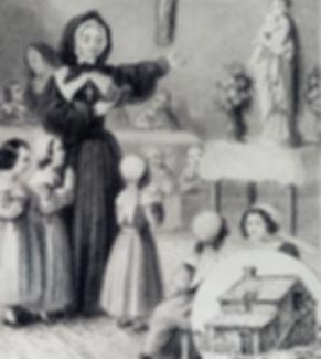Marguerite Bourgeoys dans sa première école-étable