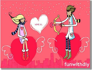 "Cartoon with red background of man firing a love arrow at a woman with a love heart between them in which it says ""Love Is"""