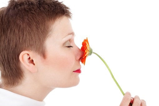 sniffing a flower