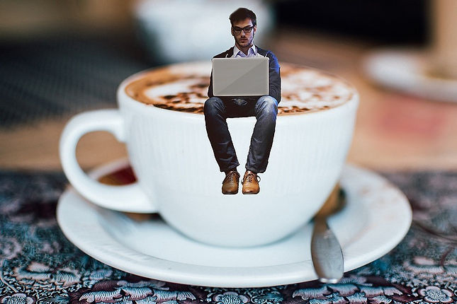 writer on a coffee