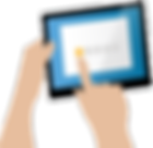 a cartoon image of a hand with a finger giving one out of 5 stars in a review on an ipad