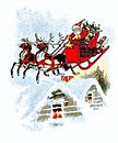 Santa in his sleigh with all the reindeer flying over the rooftops- cartoon