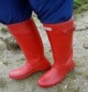 a pair of red welly boots