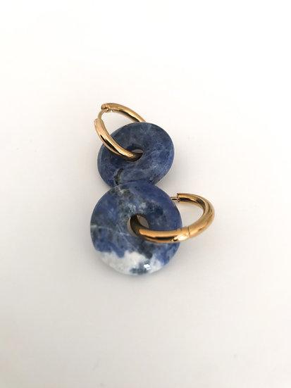 circle stone hoops blue