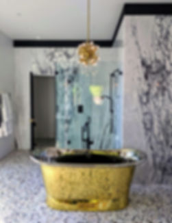 eclectic-master-bathroom-brass-tub-glass-shower-marble-wall-terrazo