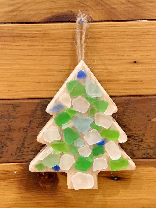 Lake Michigan Beach Glass Tree Ornament