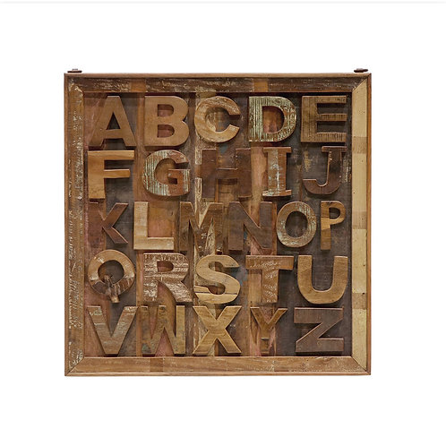 large wooden alphabet panel, hand-crafted