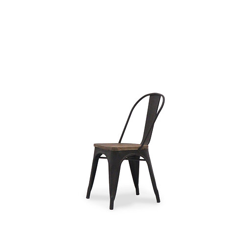 Industrial, rustic, Elm and metal dining chair