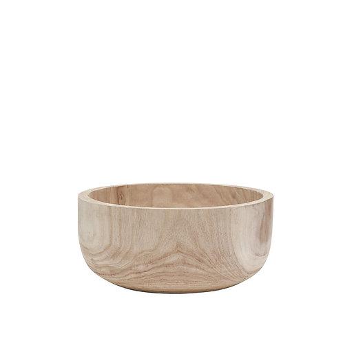 Hand carved whitewashed Paulownia wood bowl