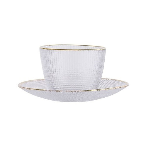 Glass Gold Rim Cup & Saucer