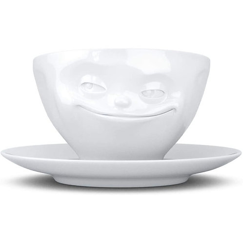 amuse | shoppeamuse | Tassen Porcelain Coffee Cup with Saucer, Grinning Face