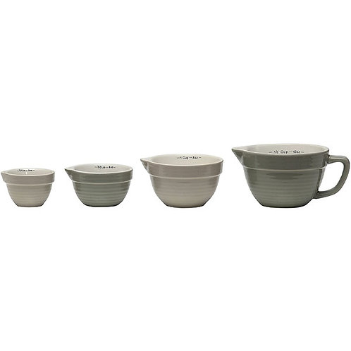 Creative Co-Op Set of 4 Batter Bowl Shaped Measuring Cups in Greys