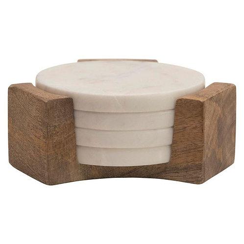Marble Coaster with Mango Wood Case