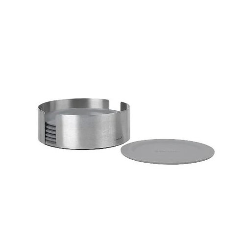 COASTERS WITH STAINLESS STEEL HOLDER - ROUND