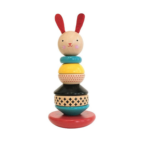 Petit Collage wooden rabbit Bunny stacking toy