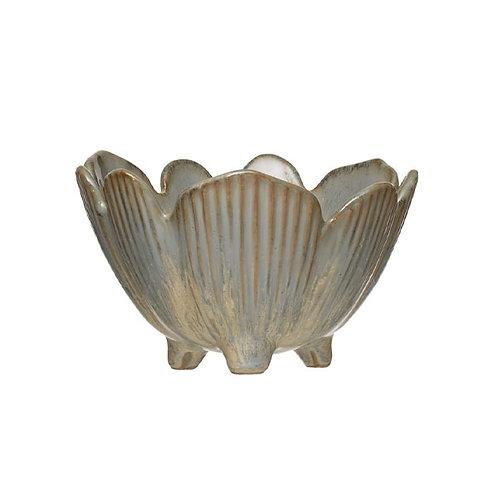 Porcelain Flower Bowl Reactive Glaze Blue