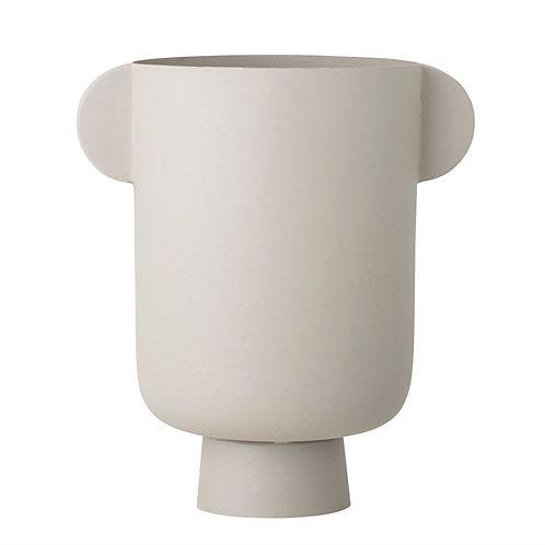 Metal Vase with Handles - Matte Beige