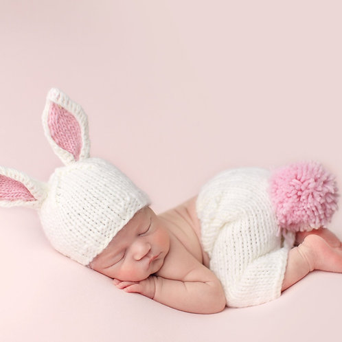 The blueberry hill Bailey Pink Bunny Newborn Knit Set