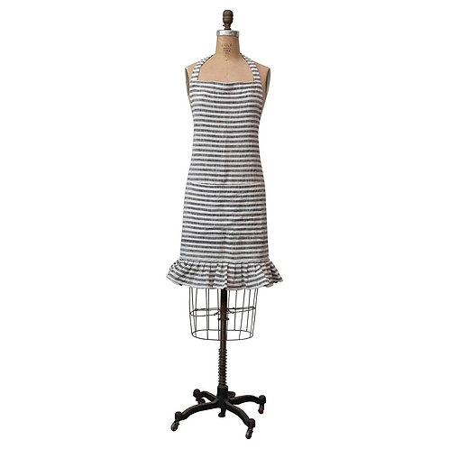 amuse l Shoppeamuse l Creative Co Op Stripped Apron with ruffle Black and White