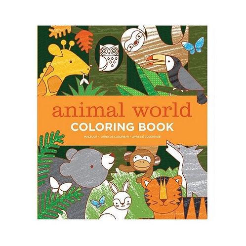 Petit Collage animal world coloring book