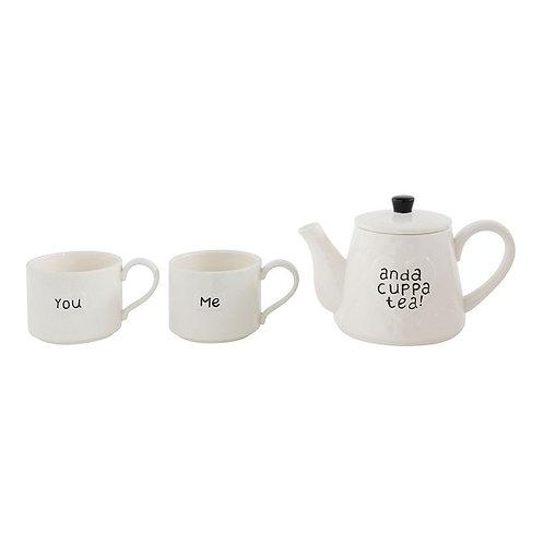 amuse l Shoppeamuse l Creative Co Op Stackable Teapot & Mugs Set of 3