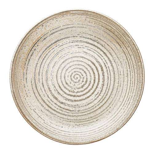 Round Stoneware Bowl Reactive Glaze Cream