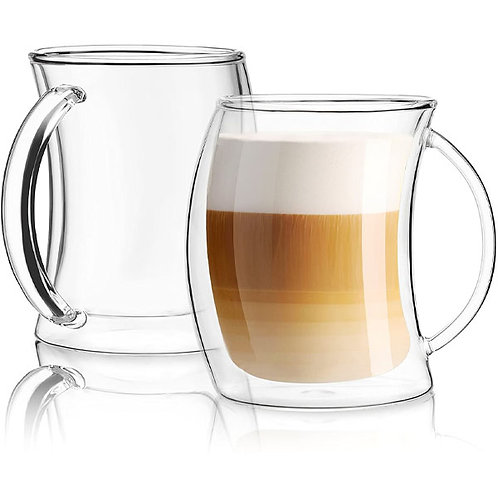 JoyJolt Caleo Collection Double Wall Insulated Glass Coffee Cups (Set Of 2) -13-Ounces