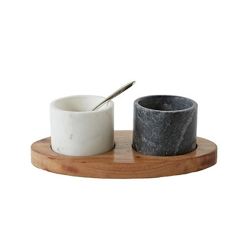 amuse l Shoppeamuse l Creative Co Op  Mango Wood Tray w/ 2 Marble Bowls w/ Brass Spoon, White/Black, Set of 4