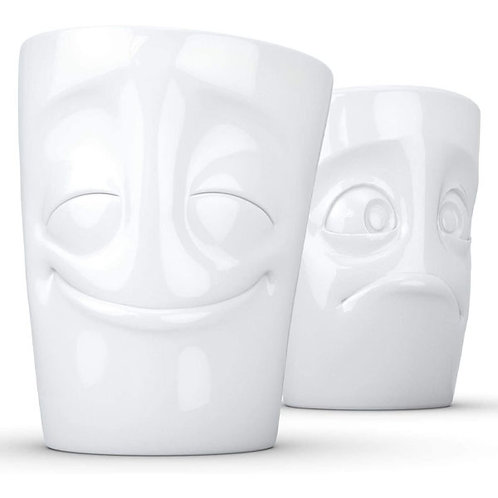 amuse | shoppeamuse | Tassen Porcelain Mug Set No. 2, Cheery & Baffled Face