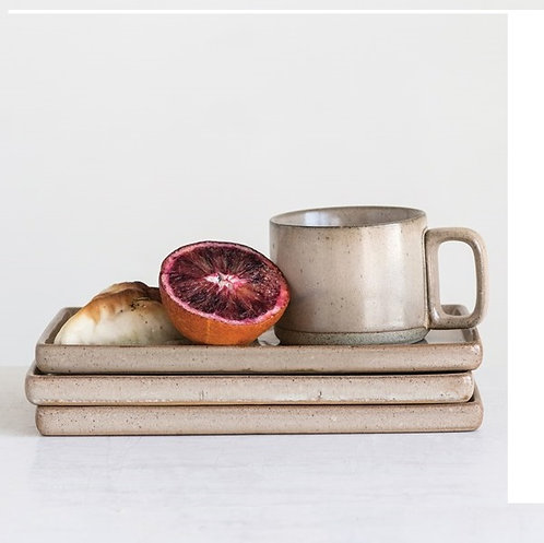 amuse l Shoppeamuse l Creative Co Op Stoneware Mug and Plate Reactive Glaze - Beige