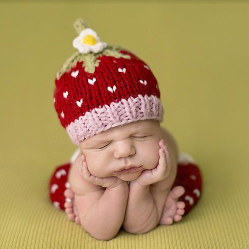 The blueberry hill red strawberry newborn knit set