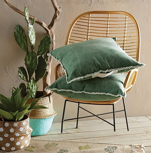 Oversized Green Washed Pillow