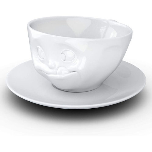 amuse | shoppeamuse | Tassen Porcelain Coffee Cup with Saucer, Tasty Face