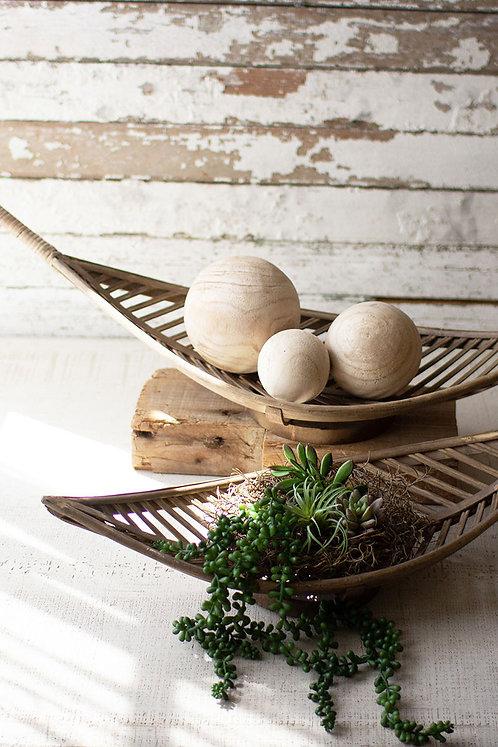 amuse l Shoppeamuse l Kalalou Bamboo Leaf Decorative Basket