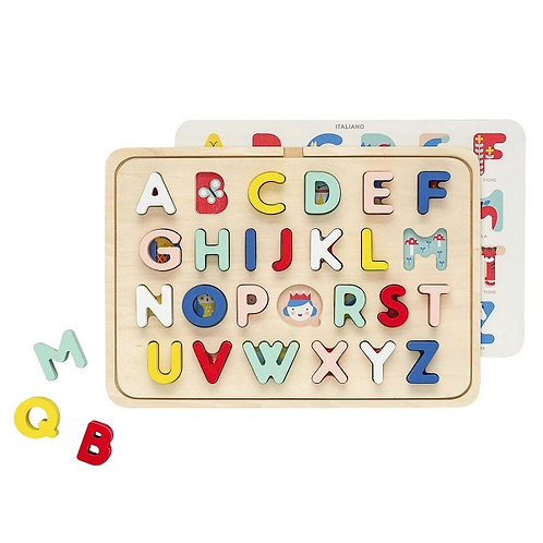 amuse l Shoppeamuse Wooden Tray Alphabet Puzzle l Petitcollage multi-language alphabet wood tray puzzlel
