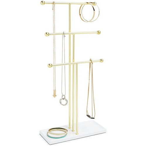 Trigem Hanging Jewelry Organizer Tiered Tabletop Countertop