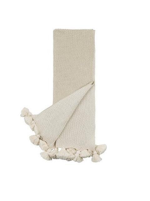 Thomas Tassel Cream Throw Blanket
