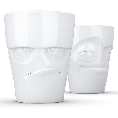 amuse | shoppeamuse | Tassen Porcelain Mug Set No. 1, Grumpy Face & Impish Face