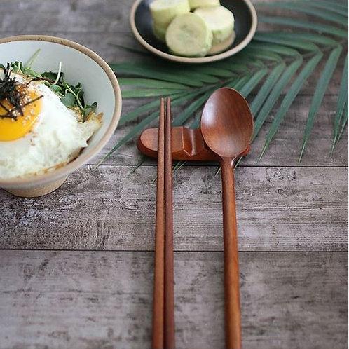 amuse l  Shoppeamuse l  Jujube Tree Wood Spoon, Chopsticks and Rest l Wood Flatware