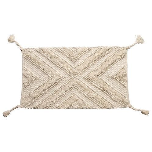 Cotton Rug w Braided Tassels