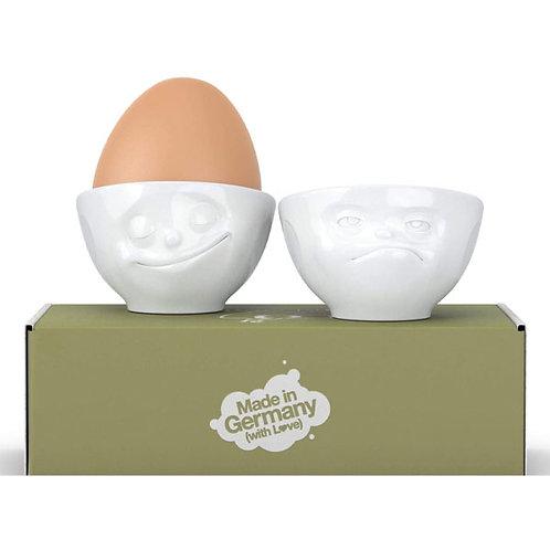 amuse | shoppeamuse | Tassen Porcelain Egg Cup Set No. 3, Happy & Hmpff Face