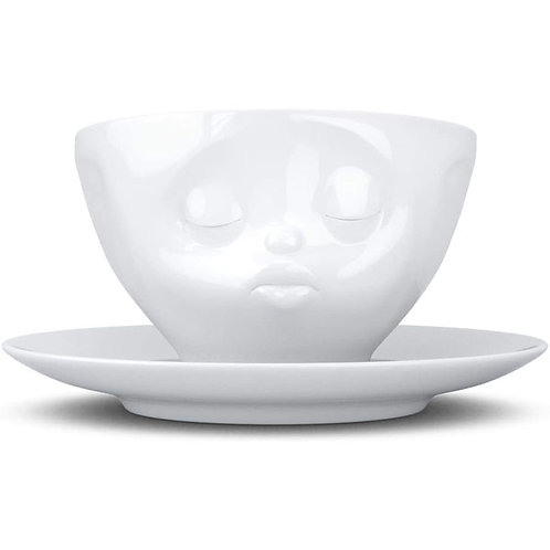 amuse | shoppeamuse | Tassen Porcelain Coffee Cup with Saucer, Kissing Face